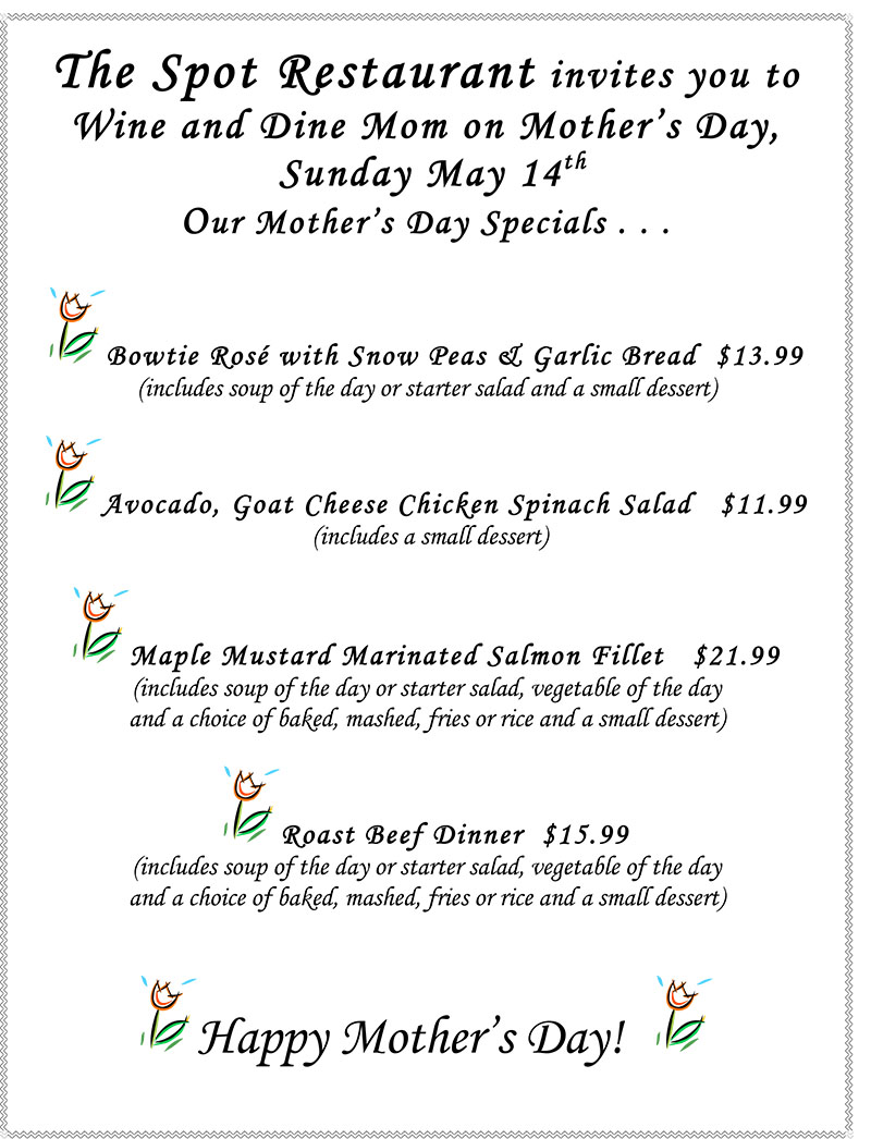 Mothers Day Menu the spot restaurant